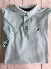 Men's Nautica Short Sleeve Polo Golf Shirt Aqua Cotton Navy Sailboat XXL