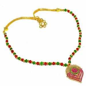 """Ruby  Emerald  White Topaz Gold Overlay SIlver Jewelry N-91 Necklace 18"""""""
