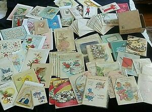 70 Pc Lot Old Unused Greeting Cards w Envelopes WWII War Bonds Box New Old Stock