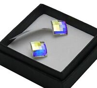 925 Sterling Silver Stud made with Swarovski Crystals Chessboard 8mm,10mm