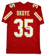 Chiefs Christian Okoye Authentic Signed Red Jersey Autographed BAS Witnessed