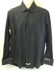 English Laundry Christopher Wicks Shirt Paisley Contrast French Cuff Black White