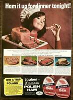 1973 Krakus & Atalanta Canned Polish Hams PRINT AD Ham it Up For Dinner Tonight