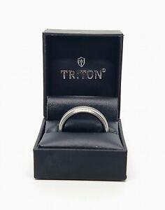 """Triton - Men's Sapphire Tungsten """"Crosshatch Design"""" Wedding Band (Sz. 11)"""
