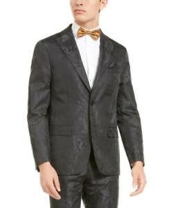MSRP $350 Tallia Men's Charcoal Tonal Animal Print Dinner Jacket Size 2XL