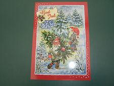 Ak Weihnachskarte Ingrid Elf Schweden GOD JUL GOTT NYTT AR Tomte Tannenbaum Axt