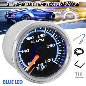 2'' 52mm Universal Oil Temp Temperature Gauge 100-300°F LED Display Car Meter