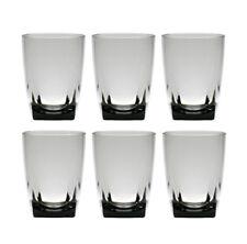QG 16 oz Grey Acrylic Plastic Wine Glass Cup w/ Heavy Square Base Tumbler 6 pc