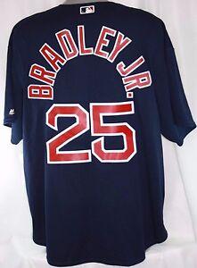 NEW Mens MAJESTIC Boston RED SOX #25 BRADLEY JR Blue Cool Base Baseball Jersey