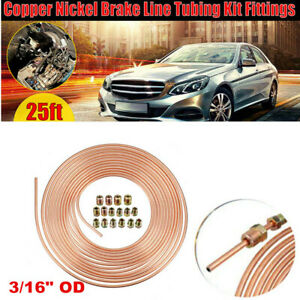"25ft 7.62m Copper Nickel Brake Line Tubing Kit 3/16"" OD Coil Rolls With Fittings"