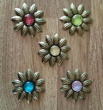 LIGHTWEIGHT METAL FLOWER EMBELLISHMENTS WITH GLITTERED CABOCHON x 5 ..