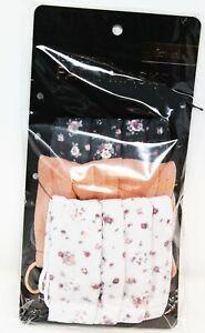 3pc Kitsch Soft Cotton Face Facial Mask VINTAGE FLORAL Flowers Peach Nude Black
