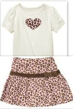 Gymboree Kitty Glamour Leopard Heart Top & Pink Skirt Skort  5 Outfit  Adorable