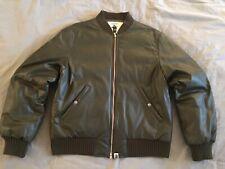 A Bathing Ape Olive Green Leather Bomber Jacket Bape L