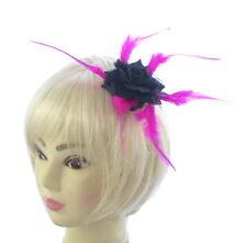 petit noir rose avec rose vif Long Plumes sur un clip, fascinateur, Fête