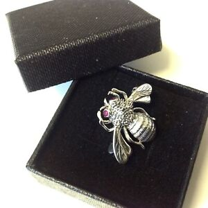 Mens 3D  Bumble Bee Bug insect lapel brooch Tie Pin Sterling Silver with Rubies
