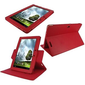 rooCASE for ASUS Transformer Prime - Dual-View Leather Case Cover Red Lot C11