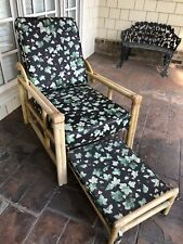 Vintage Rattan Bamboo Chair With Slide Out Ottoman