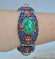 Chinese Old Tibet dynasty palace cloisonne silver inlaid jade bracelet