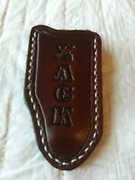 Custom Leather Belt Pocket Knife Case Sheath Handmade Personalized Trapper