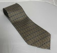 Geometric Print Gray Guess Brand 100% Silk Tie Hand Made in the United States