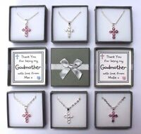 PERSONALISED GODMOTHER THANK YOU GIFT KEEPSAKE CROSS NECKLACE MULTI GIFT BOXED