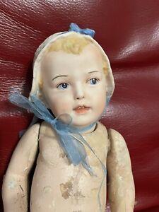 """12"""" Bisque Bonnet Head Doll Composition Body"""