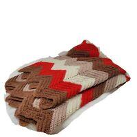 Vintage Afghan Blanket Zig Zag Stripe Knitted Crochet Wool Brown Red Cream Throw