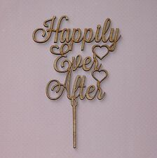 Happily Ever After,Wedding cake topper Wooden Engagment Cake Decor Love Rustic