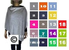 Cashmere Mix Italian Poncho Lagenlook Cape Wool Wrap Scarf Shrug Jumper One Size