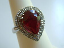 Huge RUBY & DIAMOND Ring.588ctw  pear ruby,daimonds 14k solid white Gold $4200