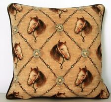 Horse Heads w/ Bit & Bridle, Star Buckle, Chenille Tapestry Pillow New