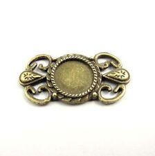 40 Pieces Antiqued Bronze Alloy 12mm Cameo Base Flower Pendants Connectors 31289