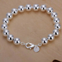 Fashion Charm nice for women lady Silver Bead Chain Bracelet jewelry wedding 925