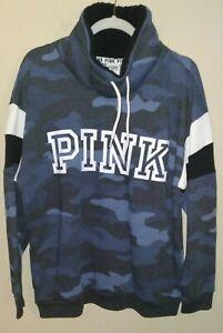 Victoria Secret Pink Sherpa Lined Cowl Nck Pullover Sweatshirt NWOT! Blue Camo M