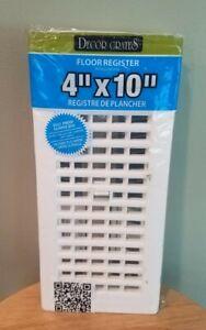 Decor Grates PL410-WH 4 x 10 White Plastic Floor Register vent grille