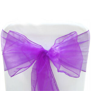 10 Purple Organza Sashes Chair Covers Wedding Party Event Decoration Decor