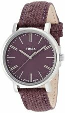 NEW TIMEX SILVER TONE,PURPLE LEATHER BAND,PURPLE ROUND DIAL WATCH T2P172