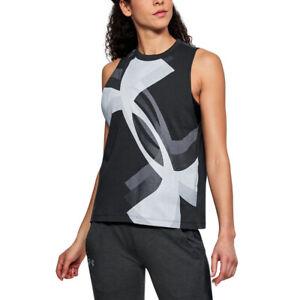 Under Armour UA HeatGear Ladies Overlay Logo Black Muscle Tank Running Vest S