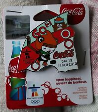 Day 13 Bottle set 24 feb  AUTHENTIC Coca cola  Vancouver 2010  Olympic PIN NEW