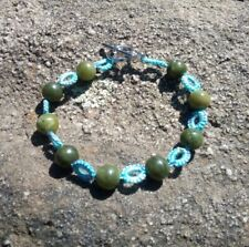 Tatted Lace Bracelet with SERPENTINE Beads 7.25 inches HANDMADE