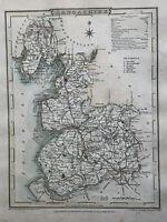 1807 Lancashire Original Antique Hand Coloured County Map by Cole & Roper
