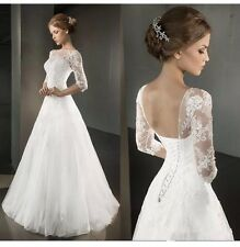 Simple White/Ivory Lace Half Sleeve A Line Floor Length Wedding Dress Size 8-16