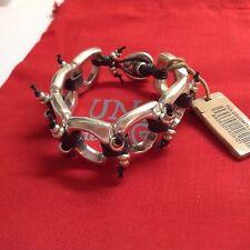 """NWT Uno de 50 Silvertone/Black Leather Bracelet """"Esters Station"""" 6.5"""" $165"""