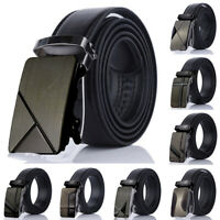 Business Men's Automatic Buckle Leather Ratchet Belt Strap Jeans Waistband