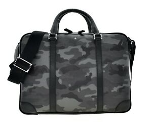 Montblanc Briefcase Document Bag Grey Camouflage Saffiano Leather New