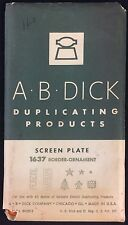 A B Dick Duplicating Products Screen Plate 1637 Border-Ornament Vintage Printing