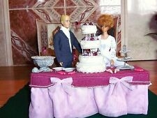 DIORAMA CHURCH, CHAIRS, ALTER, RECEPTION TABLE, CAKE,, VINT. BARBIE AND KEN