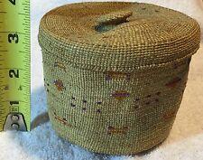 Alaska Aleut Attu Basket Lidded Tight weave Knob Top Circa 1930's