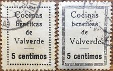 2 SELLOS LOCALES GUERRA CIVIL VALVERDE COCINAS BENEFICAS. USADO